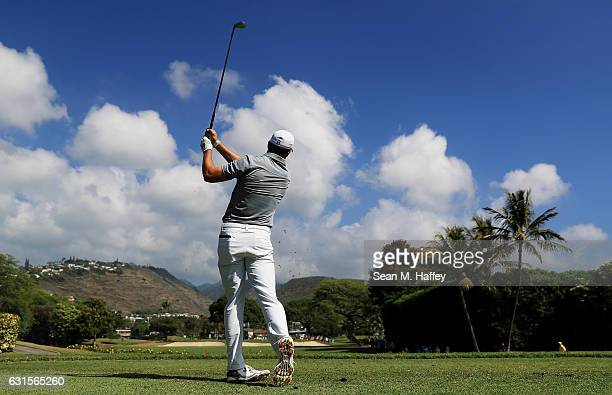 Jordan Spieth of the United States plays his shot from the seventh tee during the first round of the Sony Open In Hawaii at Waialae Country Club on...