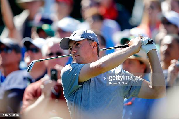 Jordan Spieth of the United States plays his shot from the sixth tee during a practice round prior to the start of the 2016 Masters Tournament at...