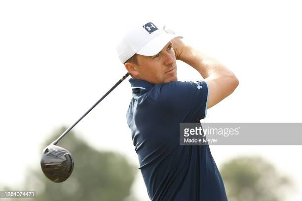 Jordan Spieth of the United States plays his shot from the tenth tee during the first round of the Vivint Houston Open at Memorial Park Golf Course...
