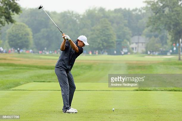 Jordan Spieth of the United States plays his shot from the tenth tee during the second round of the 2016 PGA Championship at Baltusrol Golf Club on...