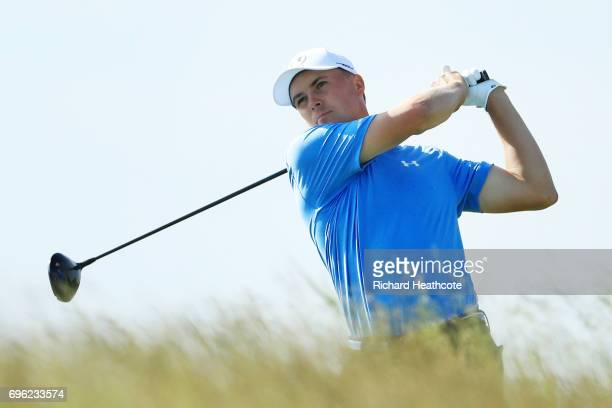 Jordan Spieth of the United States plays his shot from the tenth tee during the first round of the 2017 US Open at Erin Hills on June 15 2017 in...