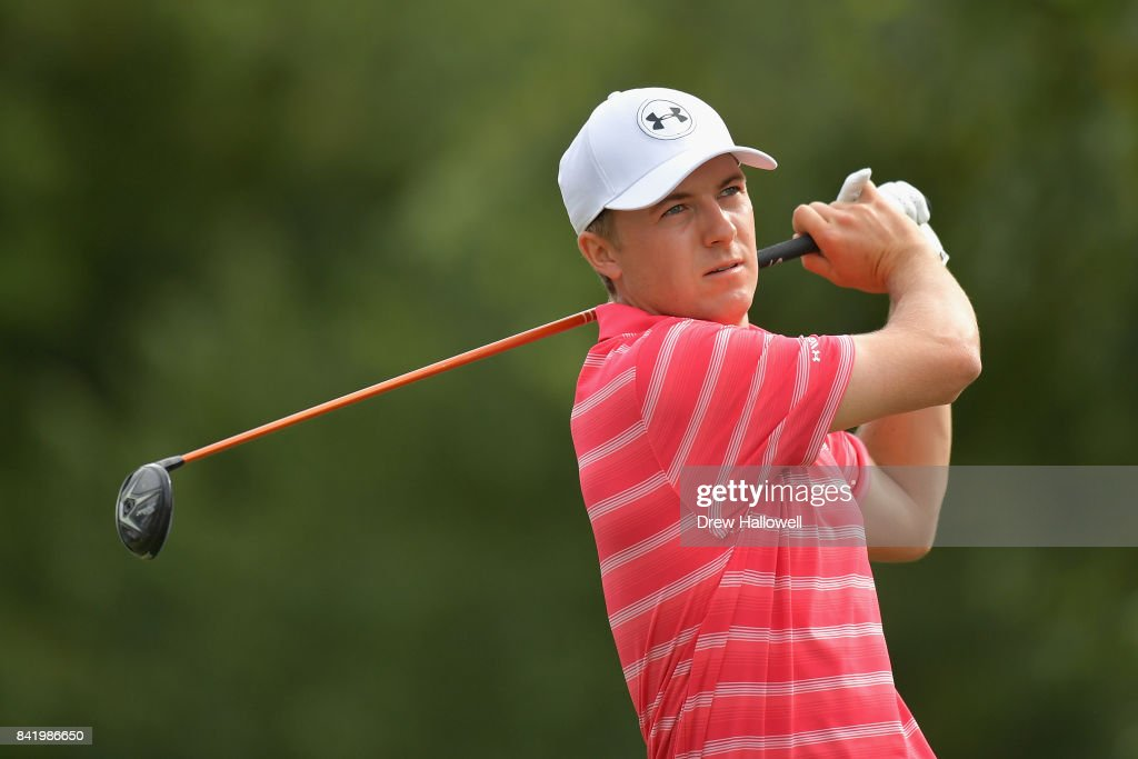 Jordan Spieth of the United States plays his shot from the tenth tee during round two of the Dell Technologies Championship at TPC Boston on September 2, 2017 in Norton, Massachusetts.