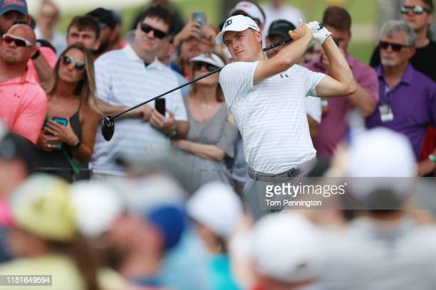 Jordan Spieth of the United States plays his shot from the third tee during the third round of the Charles Schwab Challenge at Colonial Country Club...