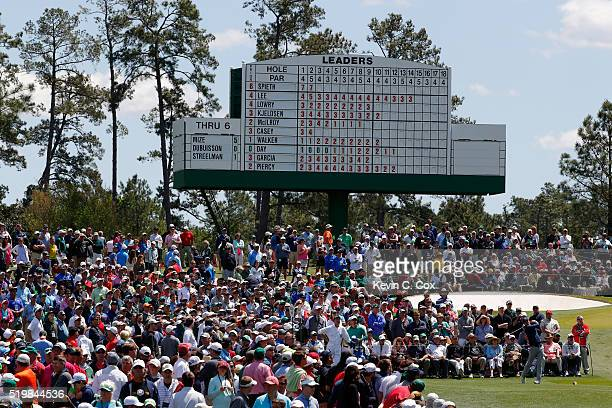 Jordan Spieth of the United States plays his shot from the third tee during the second round of the 2016 Masters Tournament at Augusta National Golf...