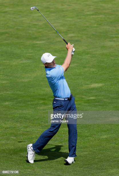 Jordan Spieth of the United States plays his shot on the 17th hole during the first round of the 2017 US Open at Erin Hills on June 15 2017 in...