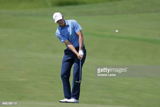 Jordan Spieth of the United States plays his shot on the 18th hole during the first round of the 2017 US Open at Erin Hills on June 15 2017 in...
