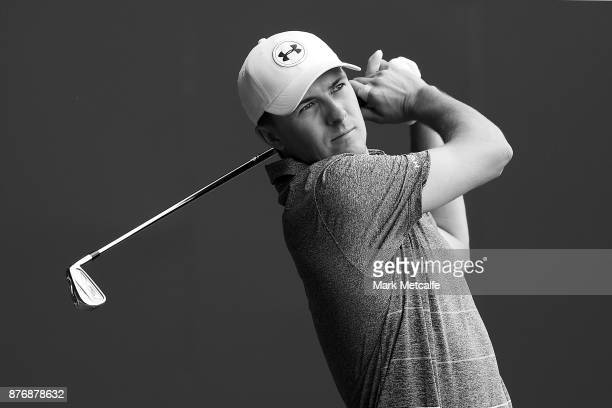Jordan Spieth of the United States plays his tee shot on the 15th hole during a practice round ahead of the 2017 Australian Open at The Australian...