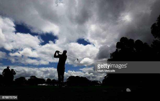 Jordan Spieth of the United States plays his tee shot on the 16th hole during a practice round ahead of the 2017 Australian Open at The Australian...