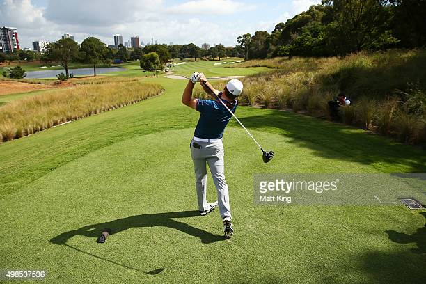 Jordan Spieth of the United States plays his tee shot on the 5th hole during a practice round ahead of the 2015 Australian Open at The Australian...