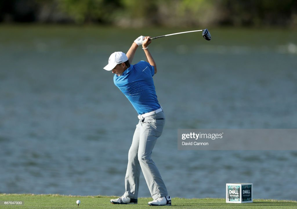 Jordan Spieth of the United States plays his tee shot on the par 4, 14th hole in his match against Yuta Ikeda during the second round of the 2017 Dell Match Play at Austin Country Club on March 23, 2017 in Austin, Texas.