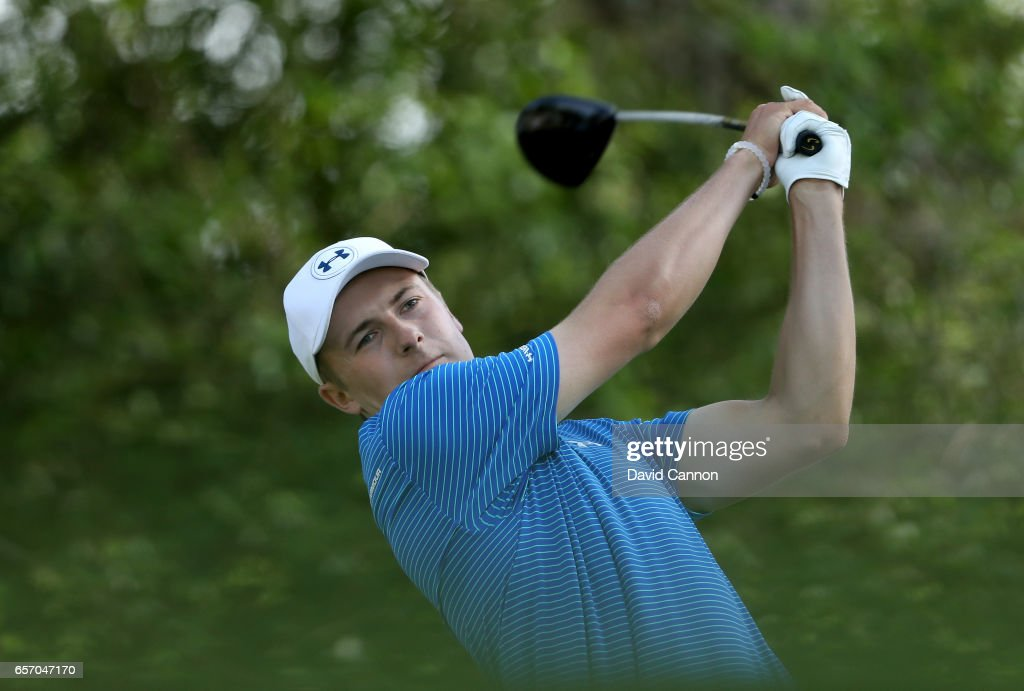 Jordan Spieth of the United States plays his tee shot on the par 5, 12th hole in his match against Yuta Ikeda during the second round of the 2017 Dell Match Play at Austin Country Club on March 23, 2017 in Austin, Texas.