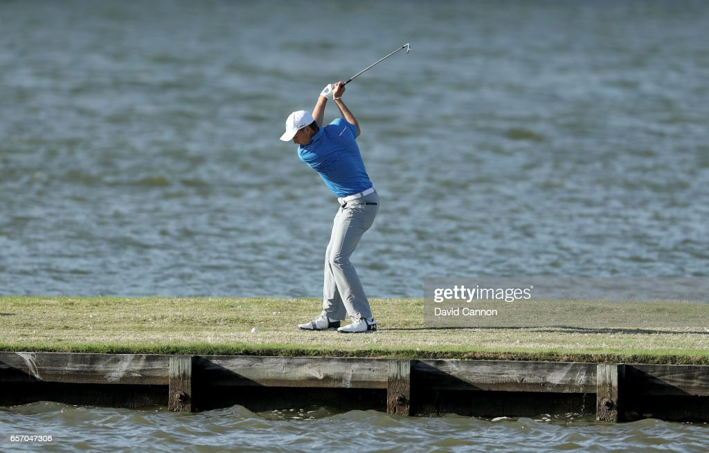 Jordan Spieth of the United States plays his third shot on the par 4, 13th hole in his match against Yuta Ikeda during the second round of the 2017 Dell Match Play at Austin Country Club on March 23, 2017 in Austin, Texas.