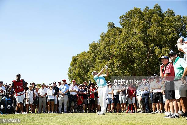 Jordan Spieth of the United States plays out of the rough on the 13th hole during day two of the Australian Open at Royal Sydney Golf Club on...