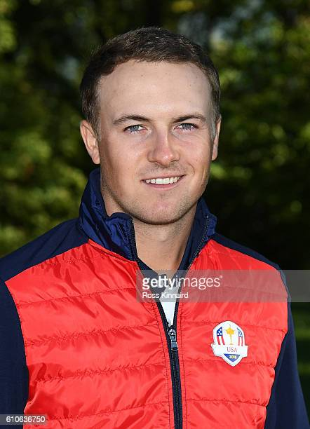 Jordan Spieth of the United States poses during team photocalls prior to the 2016 Ryder Cup at Hazeltine National Golf Club on September 27, 2016 in...