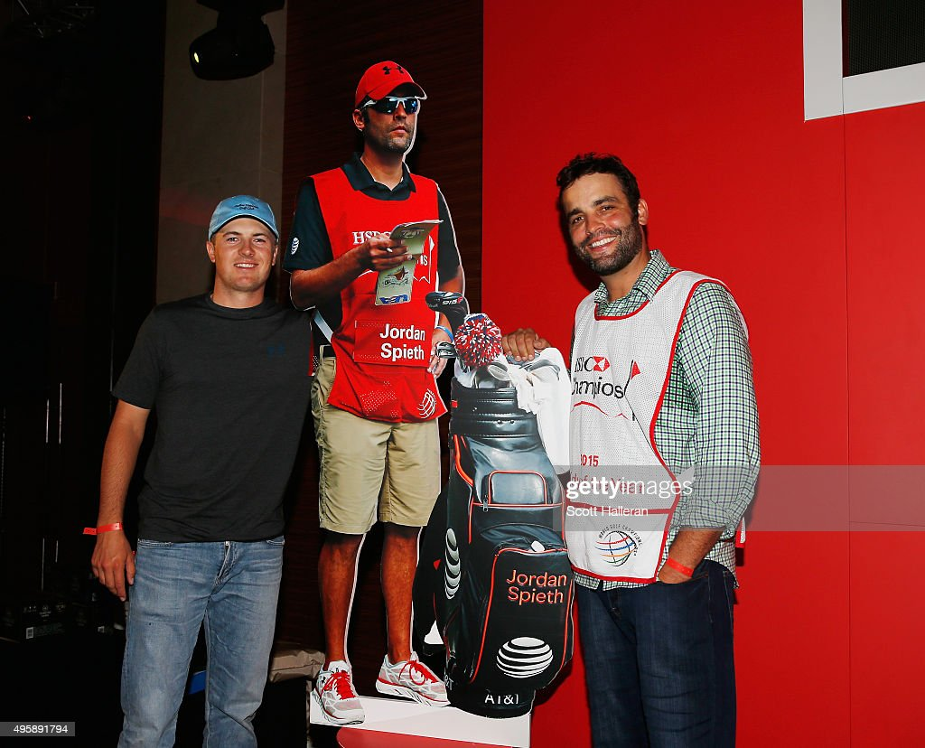 Jordan Spieth of the United States poses with his caddy Michael Greller after Greller was named 2015 Caddy of the Year at the WGC - HSBC Champions on November 5, 2015 in Shanghai, China.