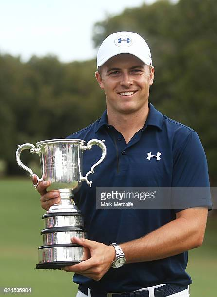 Jordan Spieth of the United States poses with the Stonehaven trophy after winning the 2016 Australian Open during day four of the 2016 Australian...