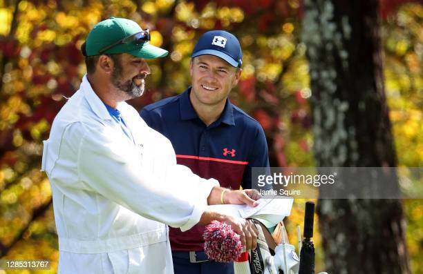 Jordan Spieth of the United States prepares to play a shot on the 11th hole during the first round of the Masters at Augusta National Golf Club on...