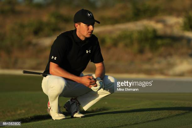 Jordan Spieth of the United States prepares to play a shot on the 17th hole during the third round of the Hero World Challenge at Albany Bahamas on...