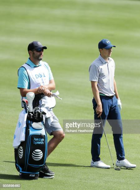 Jordan Spieth of the United States prepares to play his second shot on the second hole during the first round of the World Golf ChampionshipsDell...