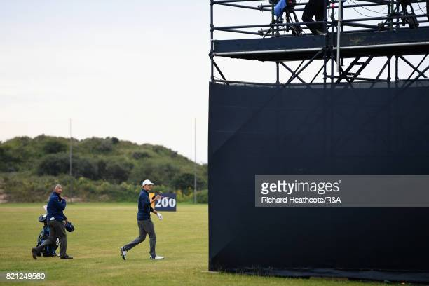 Jordan Spieth of the United States prepares to play his third shot on the practise range while playing the 13th hole during the final round of the...