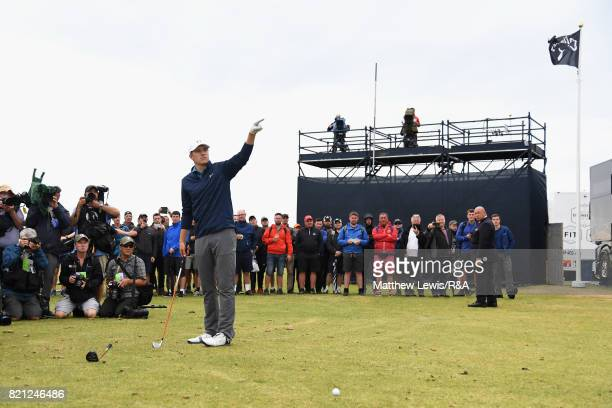 Jordan Spieth of the United States prepares to play his third shot from the practise range on the 13th hole during the final round of the 146th Open...