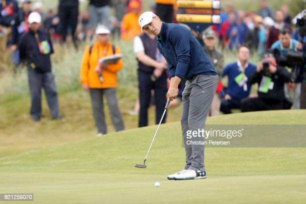 Jordan Spieth of the United States putts for eagle on the 15th green during the final round of the 146th Open Championship at Royal Birkdale on July...