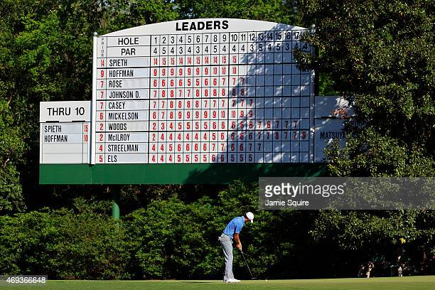 Jordan Spieth of the United States putts on the 11th hole during the third round of the 2015 Masters Tournament at Augusta National Golf Club on...