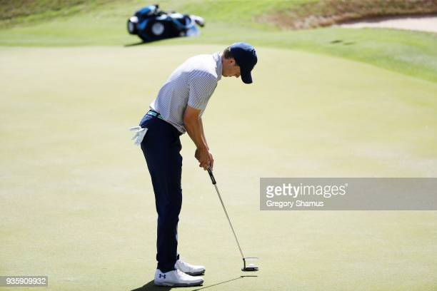 Jordan Spieth of the United States putts on the 17th green during the first round of the World Golf ChampionshipsDell Match Play at Austin Country...