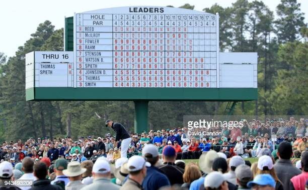Jordan Spieth of the United States putts on the 17th green during the final round of the 2018 Masters Tournament at Augusta National Golf Club on...