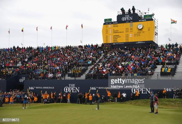 Jordan Spieth of the United States putts on the 18th green to win the 146th Open Championship at Royal Birkdale on July 23 2017 in Southport England