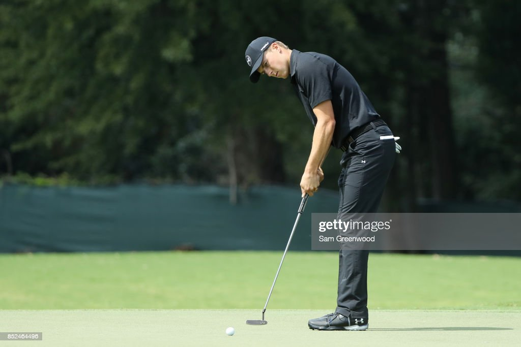 Jordan Spieth of the United States putts on the second green during the third round of the TOUR Championship at East Lake Golf Club on September 23, 2017 in Atlanta, Georgia.