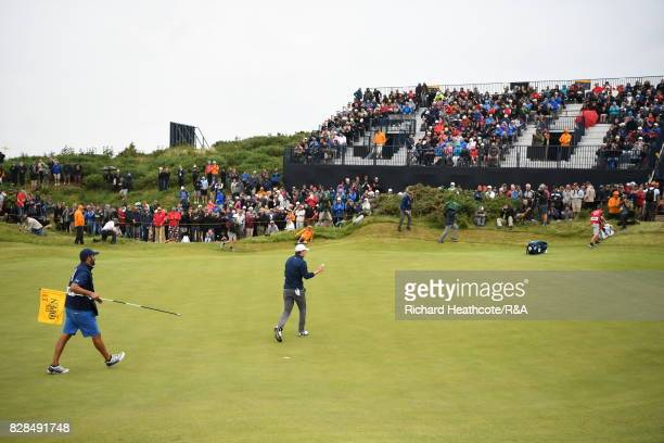 Jordan Spieth of the United States putts out on the 13th hole during the final round of the 146th Open Championship at Royal Birkdale on July 23 2017...