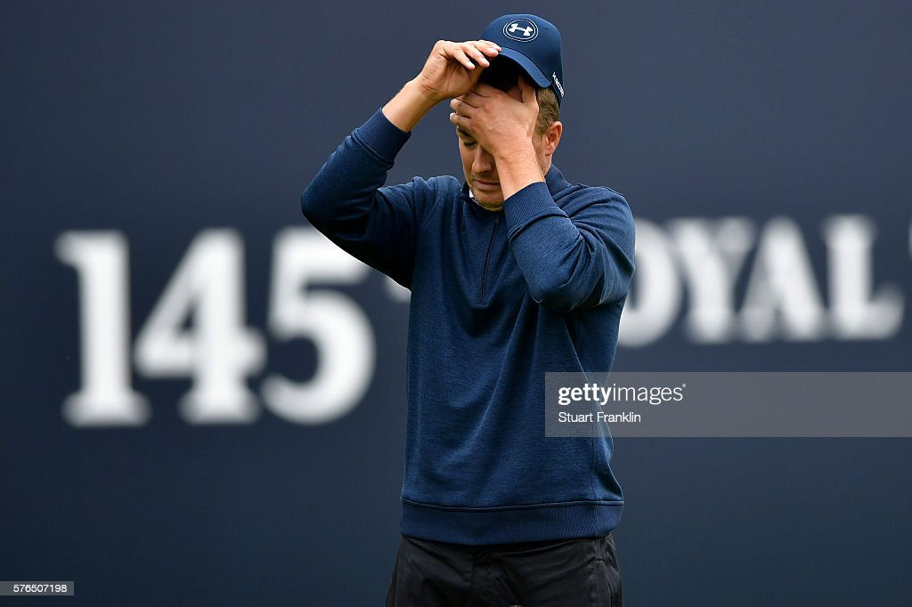 Jordan Spieth of the United States reacts after putting on the 18th during the second round on day two of the 145th Open Championship at Royal Troon on July 15, 2016 in Troon, Scotland.