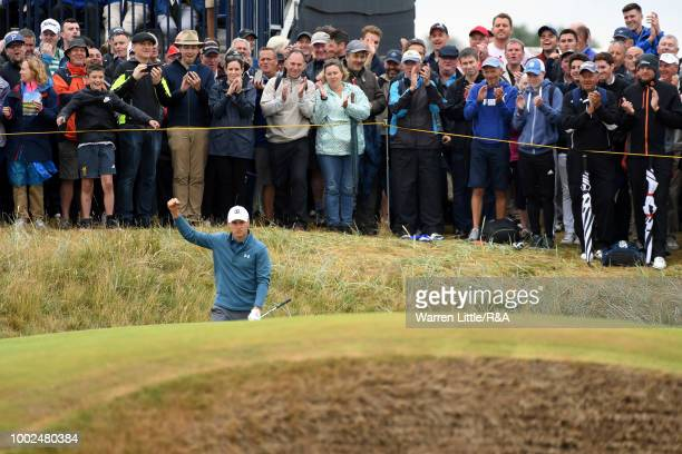Jordan Spieth of the United States reacts as he birdies the 3rd hole during round two of the Open Championship at Carnoustie Golf Club on July 20...