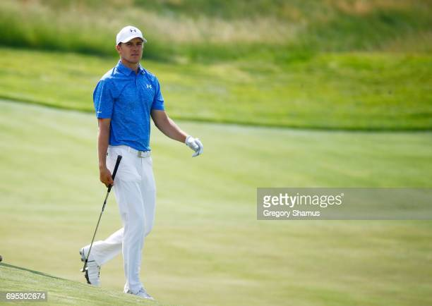 Jordan Spieth of the United States reacts during a practice round prior to the 2017 US Open at Erin Hills on June 12 2017 in Hartford Wisconsin