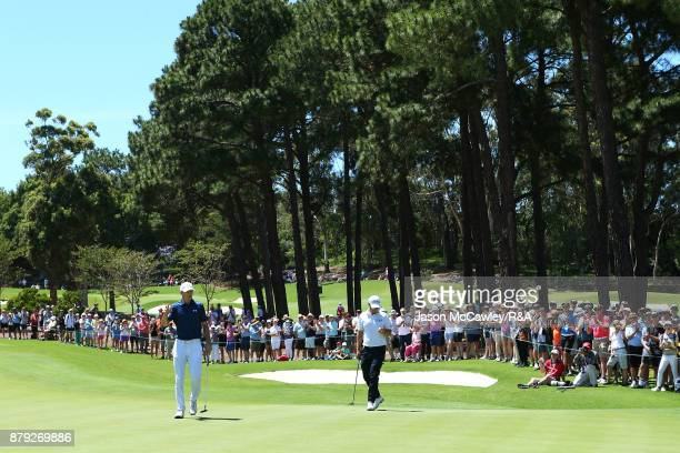 Jordan Spieth of the United States reacts during day four of the 2017 Australian Golf Open at the Australian Golf Club on November 26 2017 in Sydney...