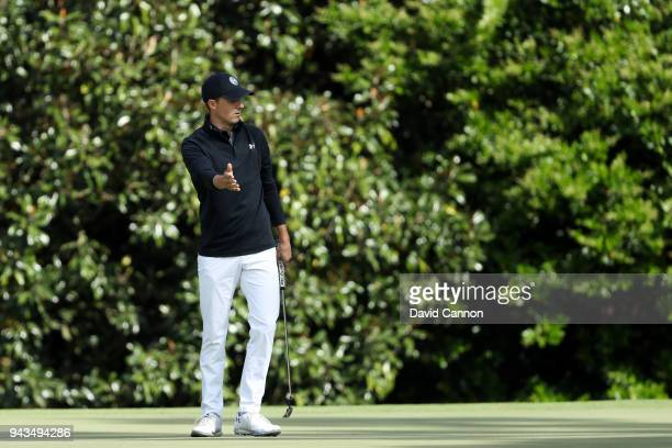 Jordan Spieth of the United States reacts during the final round of the 2018 Masters Tournament at Augusta National Golf Club on April 8 2018 in...