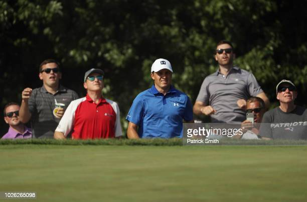 Jordan Spieth of the United States reacts on the 13th hole during round three of the Dell Technologies Championship at TPC Boston on September 2,...