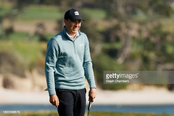 Jordan Spieth of the United States reacts on the 17th green during the third round of the AT&T Pebble Beach Pro-Am at Pebble Beach Golf Links on...