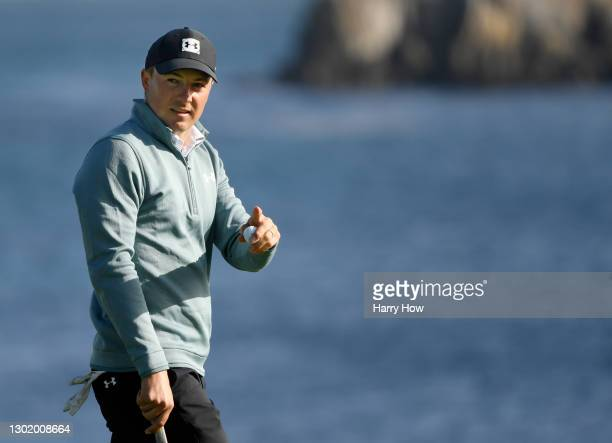 Jordan Spieth of the United States reacts on the 18th green during the third round of the AT&T Pebble Beach Pro-Am at Pebble Beach Golf Links on...