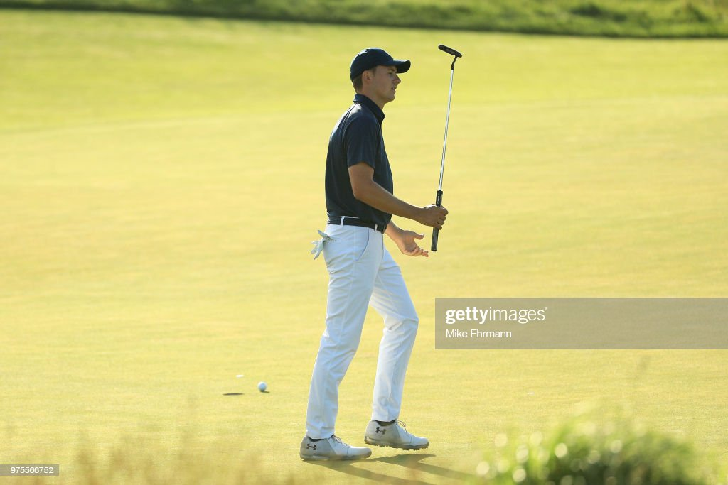 Jordan Spieth of the United States reacts on the 18th green during the second round of the 2018 U.S. Open at Shinnecock Hills Golf Club on June 15, 2018 in Southampton, New York.