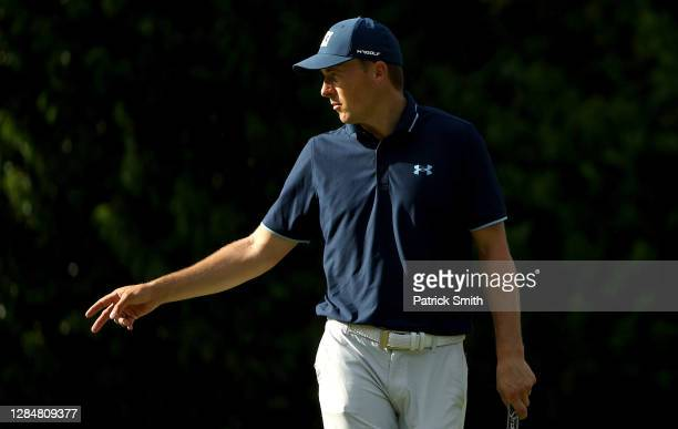 Jordan Spieth of the United States reacts on the fourth green during a practice round prior to the Masters at Augusta National Golf Club on November...