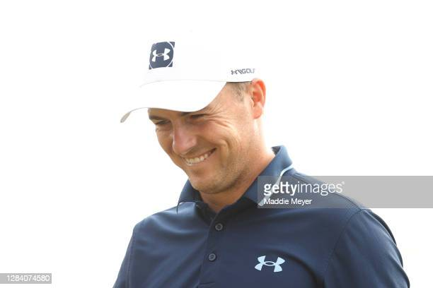 Jordan Spieth of the United States reacts on the ninth hole during the first round of the Vivint Houston Open at Memorial Park Golf Course on...