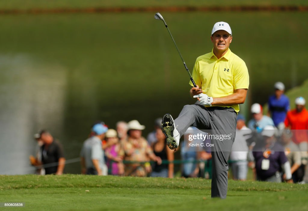 Jordan Spieth of the United States reacts on the ninth hole during the first round of the TOUR Championship at East Lake Golf Club on September 21, 2017 in Atlanta, Georgia.