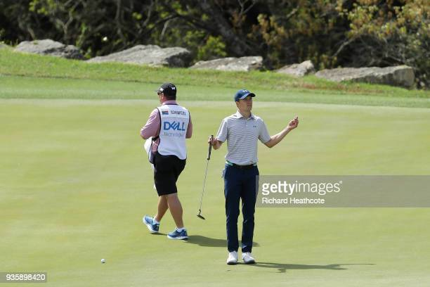 Jordan Spieth of the United States reacts on the second green during the first round of the World Golf ChampionshipsDell Match Play at Austin Country...