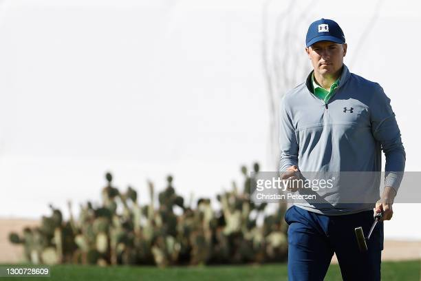 Jordan Spieth of the United States reacts to a birdie on the 16th hole during the third round of the Waste Management Phoenix Open at TPC Scottsdale...