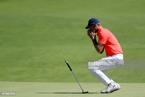 Jordan Spieth of the United States reacts to a misesd putt on the 16th green during the first round of the 2018 US Open at Shinnecock Hills Golf Club...