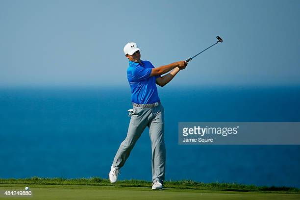 Jordan Spieth of the United States reacts to a missed putt on the 12th hole during the final round of the 2015 PGA Championship at Whistling Straits...