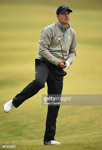 Jordan Spieth of the United States reacts to a shot on the 5th hole during the final round of the 144th Open Championship at The Old Course on July...