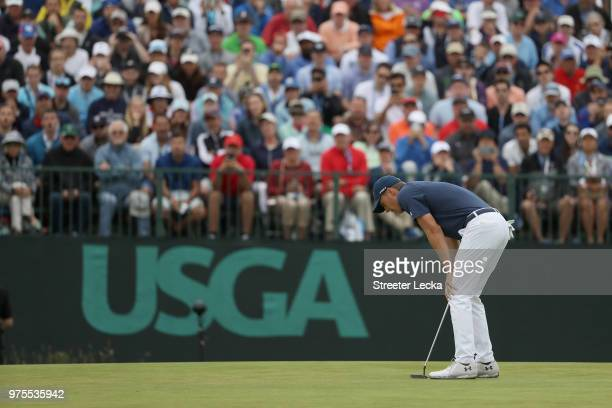 Jordan Spieth of the United States reacts to a shot on the seventh tee during the second round of the 2018 US Open at Shinnecock Hills Golf Club on...